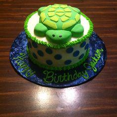 First birthday turtle smash cake that I made for my godchild Jackson! :)