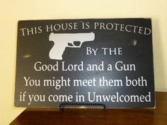 Gun Wall Sign 12x18 Custom Wood Sign  Wood by CustomVinylBoards, $25.00