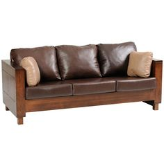 Solid Wood Amish Made Sofa with Brown Leather