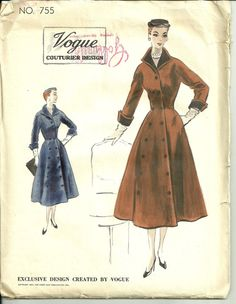 Vintage Vogue 755 Couturier Design Coat or Coat by Abbysfabric, $55.00
