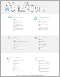 FREE Address Change Checklist. Moving Cleaning ChecklistMoving Checklist  PrintableApartment ...
