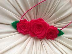 I Felt For You Hot Pink Flower Trio Headband or Hair Clip on Etsy, $8.99