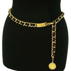 6b94d2efa13e Details about CHANEL CC Logo Clover/crosss Gold And Black Chain Belt France  Vintage Authentic