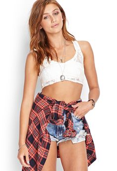 Forever 21 is the authority on fashion & the go-to retailer for the latest trends, styles & the hottest deals. Shop dresses, tops, tees, leggings & more! Cropped Tops, Lace Crop Tops, Festival Fashion, Festival Style, Boho Shorts, Latest Trends, Forever 21, Cute Outfits, Street Style