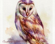 PRINT – The Owl Watercolor painting x The artwork print reproduction of my Original Watercolor painting. Printed area: x 11 Paper Modern Canvas Art, Contemporary Abstract Art, Owl Watercolor, Watercolor Paintings, Watercolor Tattoo, Alphonse Mucha Art, Motifs Animal, Popular Art, Owl Art