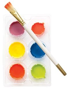 WATERCOLOR!  3 Tbl. each  baking soda, cornstarch, white vinegar.  1 1/2 tsp corn syrup, mix completely after fizzing subsides. pour into containers and add food coloring.  leave out to harden for three hours