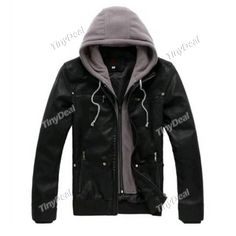Winter Casual The Secret Of Decoration Motorcycle Leather Slim Hat Detachable With Hoodie Coats for Boy Men DCD-372592