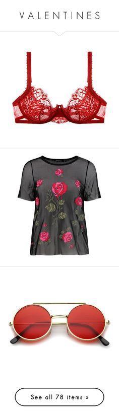 """V A L E N T I N E S"" by happy-fashionx ❤ liked on Polyvore featuring intimates, bras, lingerie, underwear, bra, e-lingerie, la perla, rosso, lace shelf bra and lace bra"