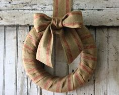 Prim Wreath...made from jute upholstery webbing.