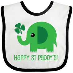 Happy St Paddy's Day Baby Bib has funny green elephant with shamrock clover logo for celebrating your Irish side on St Patrick's Day. www.homewiseshopperkids.com