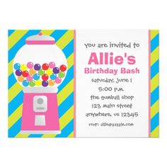 Striped Pink Gumball Machine Invitations. Blue, lime green, pink purple yellow and orange gumballs in a cute pink gumball machine. Would be fun for a girl's birthday party or other candy filled celebrations. www.gem-ann.com (Zazzle store)