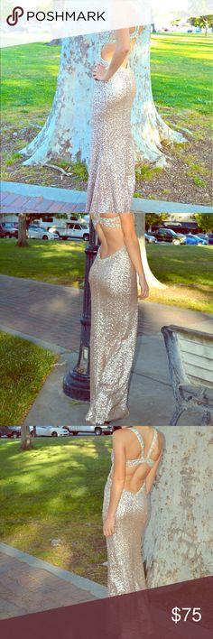 Gold sequin open-back prom dress Beautiful gold sequin gown. Open back. Lined inside. Floor length. Jeweled straps. Slight V neck. Size La Femme size 0. Reinforced closure at back (modification). La Femme Dresses Prom