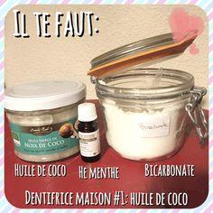 les ingrédients pour un dentifrice maison à l'huile de coco