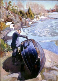 """Pekka Halonen, """"Boat tarring"""", oil (from On the Shores of the Lake @ Ateneum Art Museum, Helsinki) Moritz Von Schwind, Russian Painting, Scandinavian Art, Vintage Artwork, Portraits, Art Plastique, What Is Like, Contemporary Paintings, Impressionism"""
