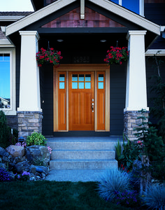 Taylor stainable steel entry door with sidelights and for Preferred windows and doors