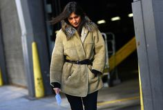 Belted shearling