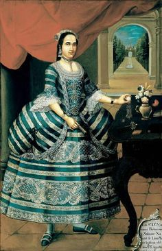 What symbols of social status do you notice in this portrait? [Leibsohn, Dana, and Barbara Mundy, Vistas: Visual Culture in Spanish America, 1520-1820.  http://www.smith.edu/vistas, 2005. 11 July 2015. <http://www.smith.edu/vistas/vistas_web/gallery/detail/donamariana_detail.htm>]