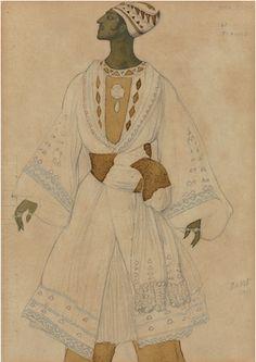 """By Léon Bakst (1866-1924), Costume design for Le Fiancé in """"Le Dieu Bleu""""."""