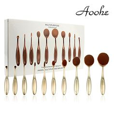 Aoohe 10pcs Oval Makeup Brush Set Toothbrush Shape Eyebrow Makeup Foundation (Gold) *** Learn more by visiting the image link.