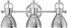 "Possini Euro Emmitt 23 1/2"" Wide Chrome Bath Light by Possini Euro Design. $199.99. This three light bath light fixture has a polished, industrial look that is just right for accenting contemporary or modern bathroom spaces. Three spot-light style fixtures direct light downward, for ample illumination in a small space. From Possini Euro Design."