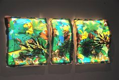 Fused Glass, Slumped, Triptych, x additionally three dimensional elements by rick strini Slumped Glass, Fused Glass Art, Wall Art Designs, Design Art, Interior Design, Lighting Manufacturers, Light Architecture, Custom Lighting, Triptych