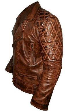 Classic Diamond Motorcycle Distressed Vintage Leather Jacket ( Free Shipping ) #Handmade #Motorcycle