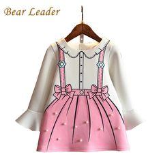 85de812d65c56 2017 Girls Summer Dress Casual Kids Dresses For Girls Children Pearl Fake  Two Pieces Dress Baby Girls Cartoon Princess Dresses
