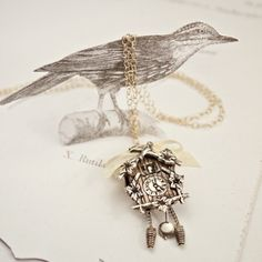 vintage cuckoo clock necklace via rust