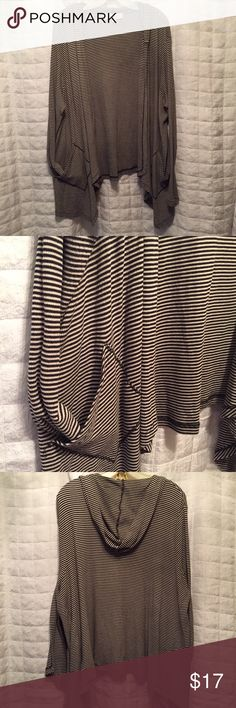 "Spring hooded cardigan 2X Philosophy Cute lightweight black and white striped hoodie uneven hemline in the front  with pockets and hood. Perfect for the spring, size 2X. Polyester/cotton/modal  Front length 34""  Front length 26"" Philosophy Jackets & Coats"