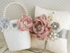 Flower Girl Basket and Ring Bearer Pillow Set in Ivory, Dusty Rose, Champagne and Grey/ Silver with Lace and Pearls. $190.00, via Etsy.