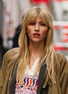Blonde fringe hair hair long haircuts with bangs, long hair Long Haircuts With Bangs, Long Hair With Bangs, Long Hair Cuts, Hairstyles With Bangs, Straight Hairstyles, Cool Hairstyles, Messy Bangs, Layered Hairstyle, Blonde Hairstyles