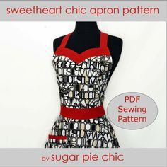 SWEETHEART NECKLINE Apron Pattern - PDF  Women's Full Apron Tutorial - Instant Digital Download Pattern