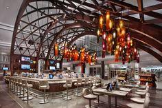 Image result for wood trellis restaurant ceiling