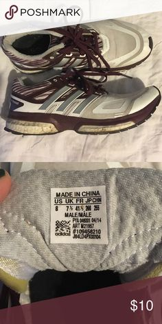 Adidas shoes Adidas shoes. Size 8. White with dark burgundy and silver accents. Good condition. Smoke free home. Adidas Shoes Athletic Shoes