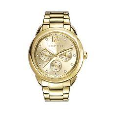 Esprit Dameshorloge 'Carrie' ES108102002. Trendy goudkleurig horloge met goudkleurige wijzerplaat waarop steentjes zijn gezet. Het horloge heeft een diameter van 38 mm en een goudkleurige horlogeband met vouwsluiting. Trendy en modieus model uit de Esprit-collectie.