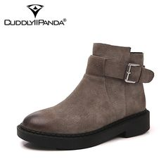dd130294ec95 CuddlyIIPanda Women Fashion Ankle Boots Autumn Winter Warm Genuine Leather Martin  Boots Female Chelsea Boots Casual Shoes Botas