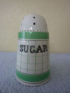 Vintage British Anchor Pottery sugar shaker Cottage Green - Shabby Chic! Retro (05/29/2012)