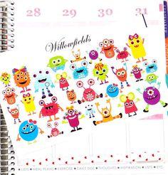 30 Monster planner stickers for Erin Condren, Filofax, Kikki K, Plum Paper, Journals and Scrapbooks 155