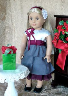 Christmas dress in burgundy and silver with matching hairband by Calyxadollcreations on Etsy