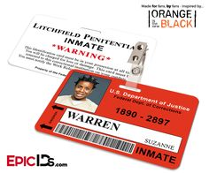 Orange is the New Black Inspired Litchfield Penitentiary Inmate Wearable ID Badge - Warren, Suzanne (Crazy Eyes)