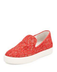 Ash Illusion Floral-Lace Skate Sneaker, Coral, Women's, Size: 8