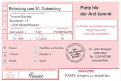 Einladungskarten ARZT 18 30 40 50 Geburtstag Einladungen Geburtstagseinladungen de.picclick.com
