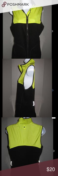 VSX Sport Fleece Vest Black & yellow fleece zip front vest. Has zip pockets. Reflective belt loops but NO belt. In excellent condition. Ask any questions! 🚫Trades 🚫Paypal ✅Bundles 🐶Pet free Victoria's Secret Jackets & Coats Vests