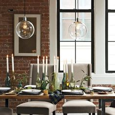 West Elm Globe Pendant. I love their use of glass bulbs with lighting. The vintage light bulb really brightens up any conversation. ;)