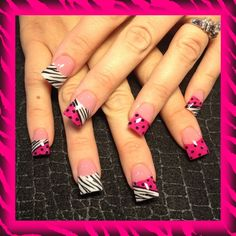 pink dots and zebra - Nail Art Gallery
