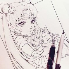 【ladowska】さんのInstagramをピンしています。 《 work in progress  #pencil #sketch #sailormoon #luna #cat #sweet #girl #animegirl #anime #manga #mangagirl #illustration #fanart #illustrationart  #sketch #kawaii #漫画 #アニメ #スケッチ #桜 #かわいい》