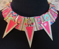 Bib Collar Statement Necklace Pink Fushia Deco Gold by audreymivey, $70.00