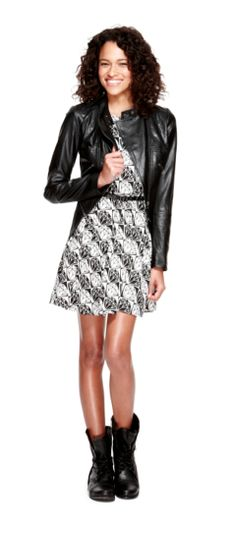 l'amour nanette lepore diamond mosaic belted skater dress and l'amour nanette lepore faux-leather moto jacket #comingsoon #fallpreview