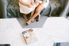 modern love brides first look kate spade fashion white dresses style   Jen + Kat   Los Angeles Stylish Same Sex Wedding   Jenn Emerling Weddings