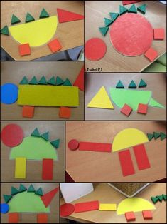 An invitation to create dinosaur shapes Ideas for play and learning with dinosaurs in an Early Years setting - from Stimulating Learning with Rachel Dinosaur Art Projects, Preschool Art Projects, Preschool Crafts, Crafts For Kids, Dinosaur Crafts For Preschoolers, Dinosaur Classroom, Dinosaur Theme Preschool, Dinosaur Dinosaur, Dinosaurs Eyfs